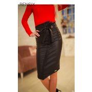 Rensix fekete bőrhatású RINGLIS női szoknya magas derekú