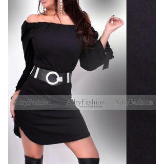 Gumírozott fekete színű karjánál megköthető ruha  - öv nélkül