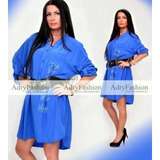 Feliratos lenge kék tunika-ruha
