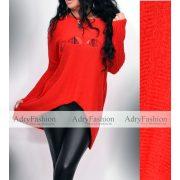 Piros kötött középen szaggatott pulóver
