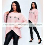 Rózsaszín kötött középen szaggatott pulóver