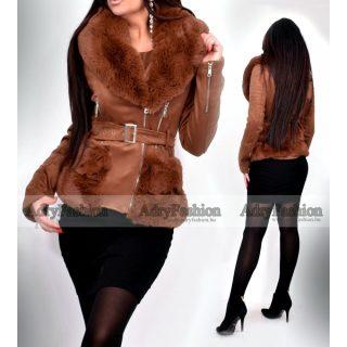 Sötét Csau barna szőrme béléses irha jellegű velúros télikabát