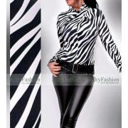 Zebra mintás Nyakánál csavart hosszú ujjú jégselyem felső
