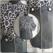 Zsiráf mintás Nyakánál csavart fekete fehér  mintás hosszú ujjú felső