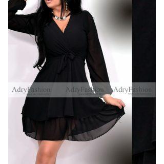 Fekete gumírozott derekánál megkötős hosszú ujjú ruha