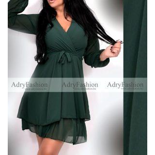 Zöld gumírozott derekánál megkötős hosszú ujjú ruha