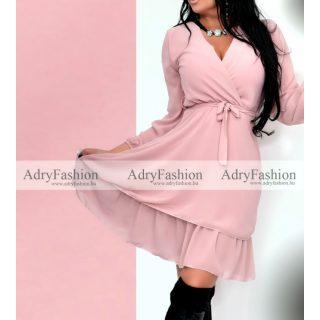 Rózsaszín gumírozott derekánál megkötős hosszú ujjú ruha