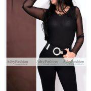 Fekete  dupla tüll női felső