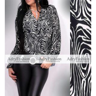 Fekete fehér átlapolt női ing felső zebra mintás