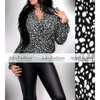 Fekete fehér átlapolt női ing felső kis párduc mintás