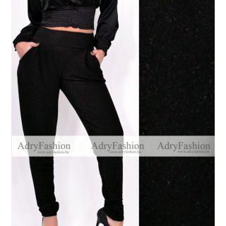 Fekete lurex szálas alkalmi zsebes női nadrág