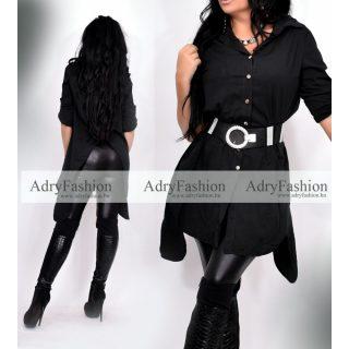 Fekete női ing hátul hasított - öv nélkül