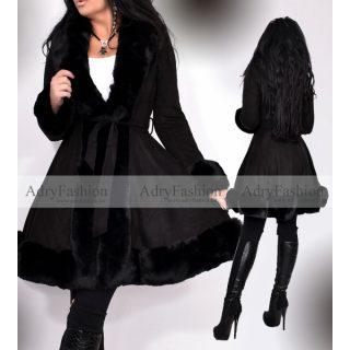 Szőrme béléses fekete irha jellegű velúros kabát