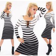 Fekete fehér fűzős bordázott női ruha