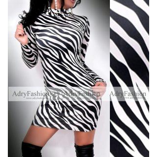 Fekete fehér zebra mintás  garbós női ruha