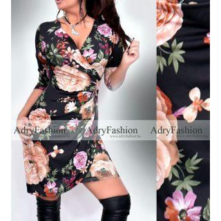 Őszi virág mintás Átlapolt Mira női ruha mintás