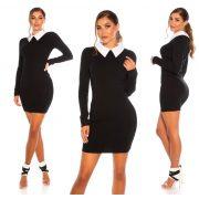 Fekete fehér galléros elegáns női ruha