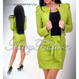 KIWI zöld műbőr  blézer és masnis szoknya szett kosztüm