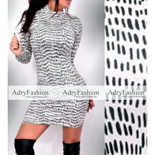 Fekete fehér Csík mintás  garbós női ruha