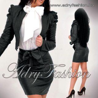 Fekete műbőr mini blézer  cipzáros  - csak blézer dzseki
