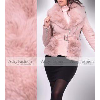 Mályvás rózsaszín  szőrme béléses irha jellegű velúros kabát