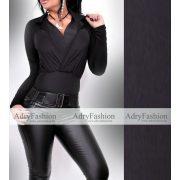 Fekete színű galléros átlapolt női body