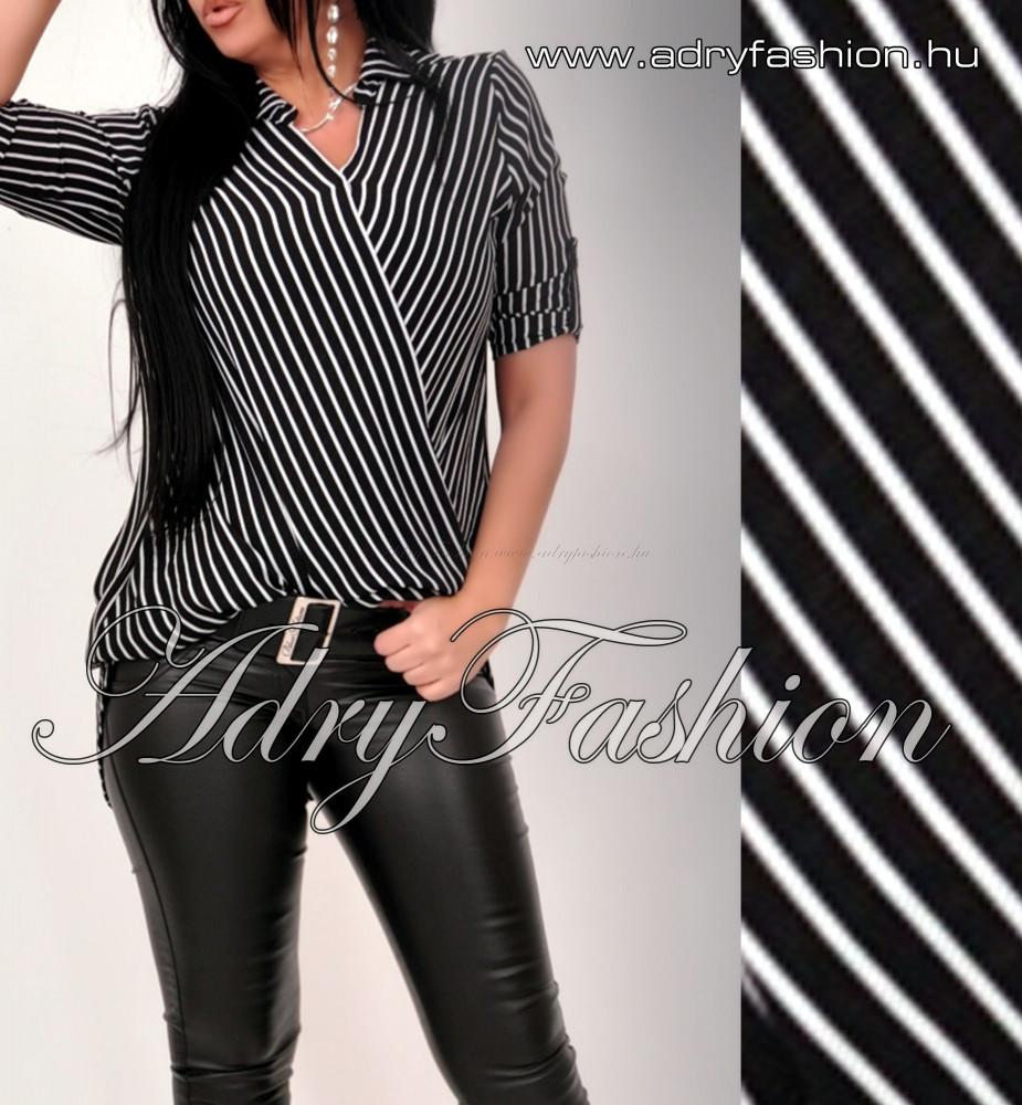 Csíkos átlapolt ing fekete fehér