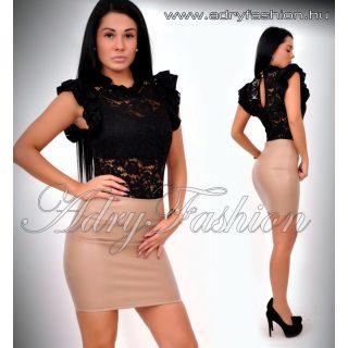 Fekete színű  elegáns alkalmi csipkés body - fodros elegáns női body