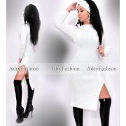 Fehér színű kötött női ruha hajpánttal sapka-sállal