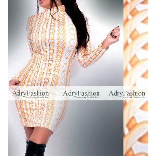 Fehér alapon arany lánc mintás garbós női ruha