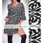 Fekete-fehér mintás fodros női muszlin ruha