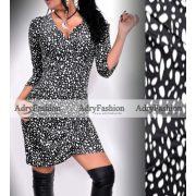 Fekete alapon fehér pöttyös mintás elöl átlapolt női ruha