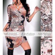 Fekete barna alapon mintás átlapolt női ruha jégselyem