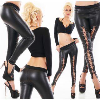 Fekete bőrhatású fűzős legging
