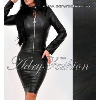 Fekete cipzáros vékony műbőr dzseki