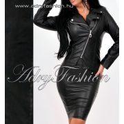 Fekete átlapolt cipzáros vékony női műbőr dzseki
