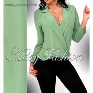 Galléros átlapolt elegáns női ing keki zöld színű