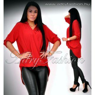 Piros színű elöl rövidebb hátul hosszabb átlapolt ing