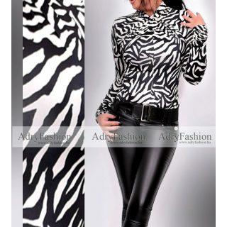 Zebra mintás fekete fehér nyakánál csavart női felső