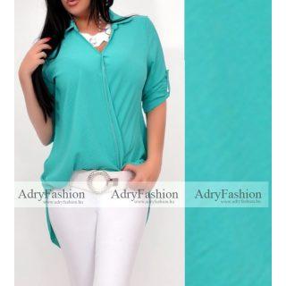Menta zöld átlapolt ing  elöl rövidebb hátul hosszabb