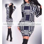 Kék fehér Tekla vonal mintás garbós női ruha