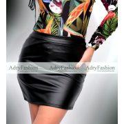 Fekete műbőrhatású rövid női szoknya