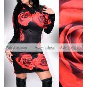 Rose fekete-rózsa mintás nyakánál csavart női ruha