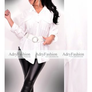 Fehér végig gombos női ingruha - öv nélkül
