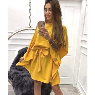 Mustársárga lepel ruha derekán megkötős