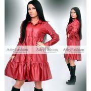 Bordó műbőr hatású végig gombos női ingruha