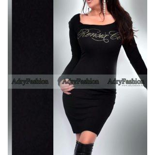 Rensix fekete színű strasszos női ruha