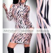 Rensix vállánál nyitott mintás női ruha bézs barna szürke
