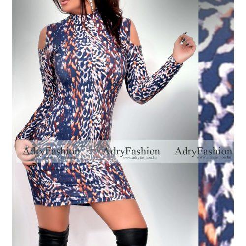 Rensix vállánál nyitott kék barna párduc mintás női ruha