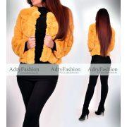 Elsa Mustársárga színű rövid műszőrme kabát